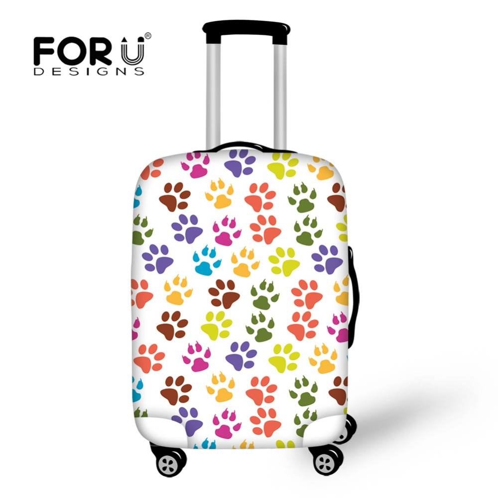 FORUDESIGNS Travel On Road Luggage Cover Protective Dye Dog Paw Print Apply To 18-30 Inch Trunk Case Covers Vacation Accessories