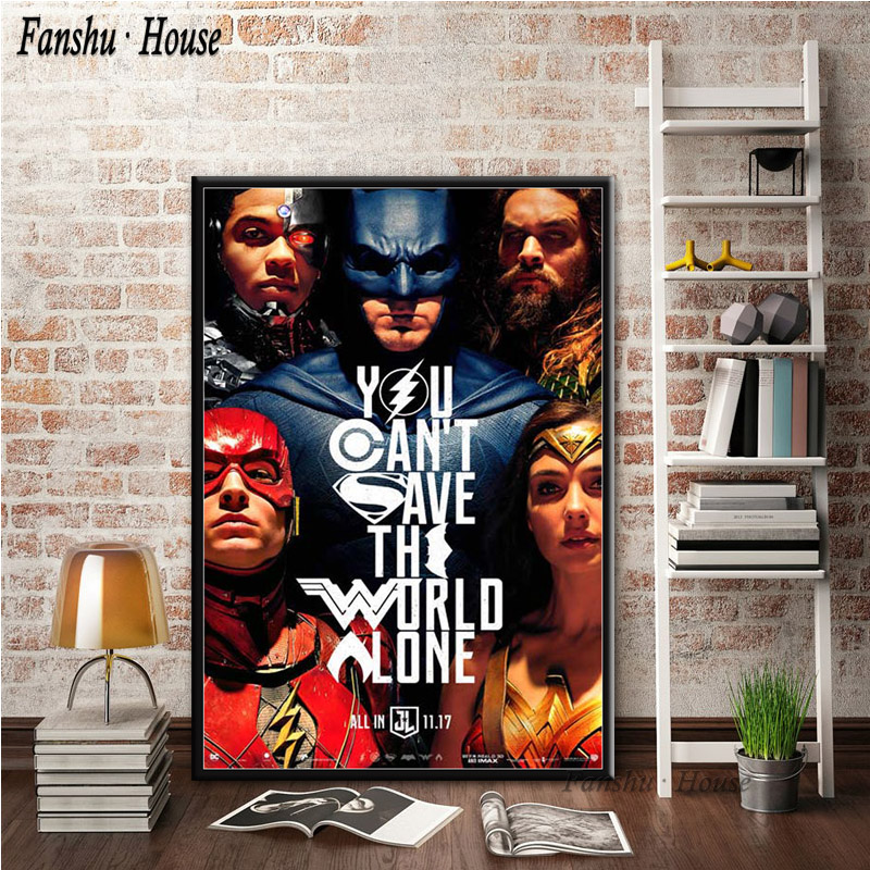 Justice League 24x36 Poster Batman Superman Wonder Woman Aquaman Flash Lantern