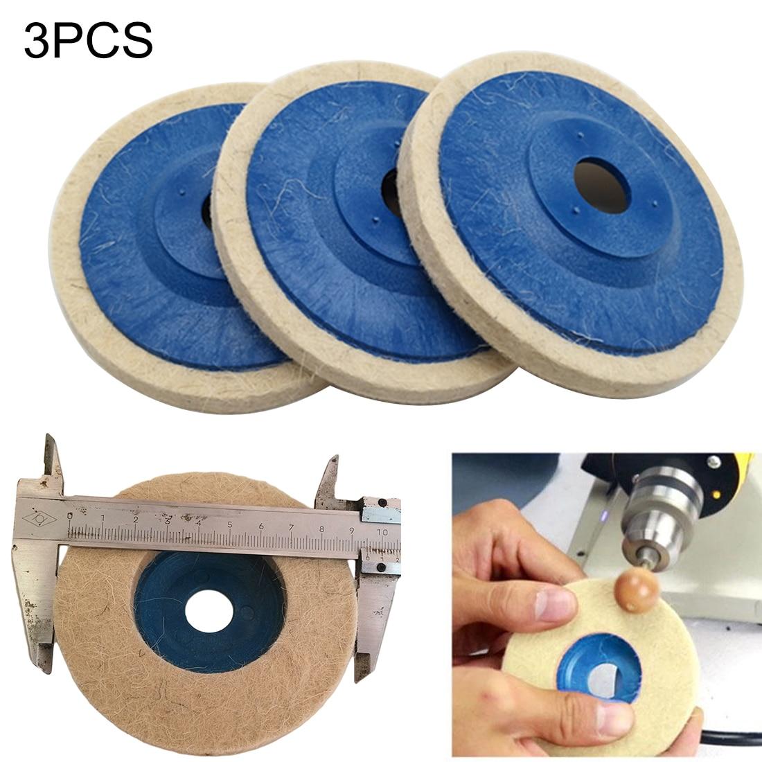 3pcs 4 Inch Wool Polishing Pads Buffing Angle Grinder Wheel Felt Polishing Disc Pad Set 100mm