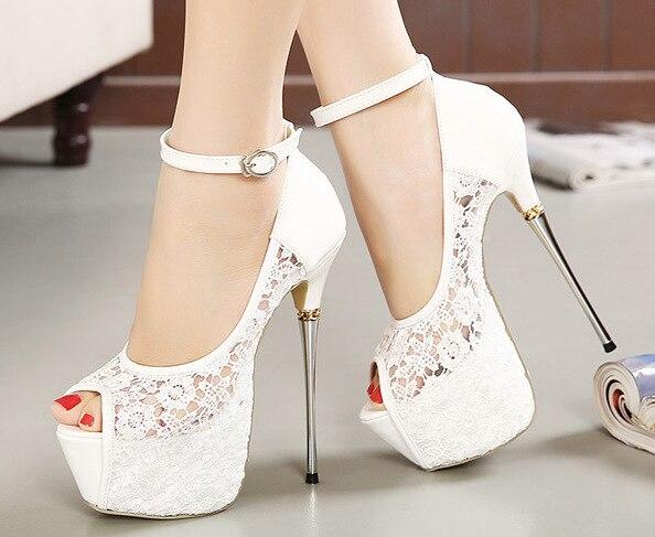 Dames Dentelle Mode Sandales Bouche Stylet Super Plate Poissons forme Discothèque Talon Imperméable Chaussures Noir De Haute Nouveau blanc 56yqZwdZ