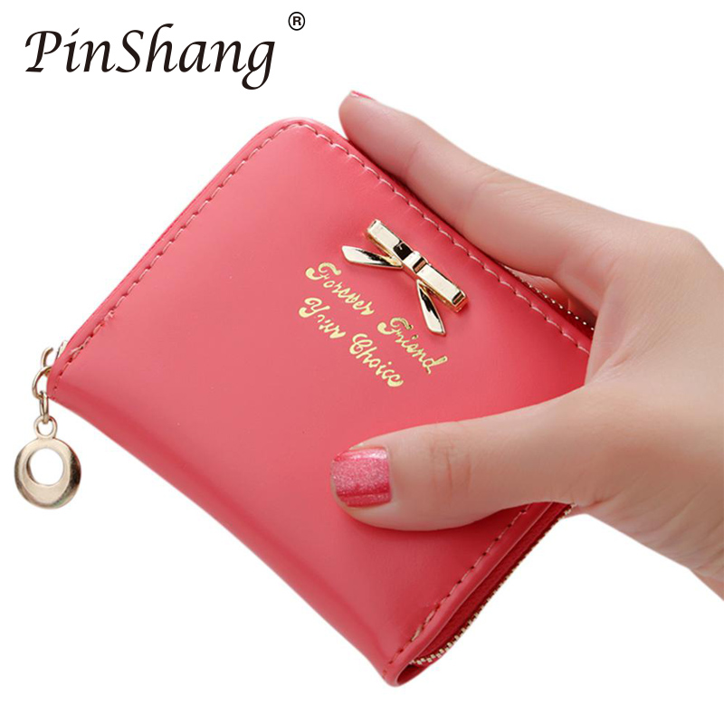 Women Wallet Fashion Zipper Purses Simple Bowknot Decoration Clutch Bag Coin Card Holder Casual Clutch Leather Female Purse ZK30