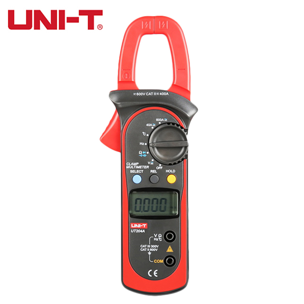 UNI-T UT204A digital clamp meter multimeters auto range temperature AC DC current clamp meter tester ammeter voltmeter unit 204A uni t ut61b modern digital multimeters 3999 count auto power off temperature tester lcd backlight