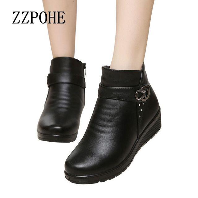 2017 otoño y el invierno de la moda botas de nieve anciana madre caliente botas botas de mujer con gruesos zapatos planos zapatos cómodos viejos 41