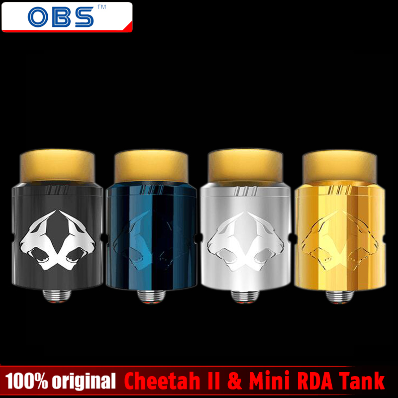 Original OBS Cheetah II & Mini RDA Tank Electronic Cigarettes Rebuildable Dripping Atomizer Vaporizer Vape Top Airflow Atomizer original rebuildable tank atomizer fumytech windforce rta