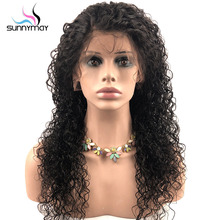 Sunnymay 13x4 Curly Lace Front Human Hair Wig with Baby Hair Pre Plucked Lace Front Wigs Brazilian Remy Hair Bleached Knots