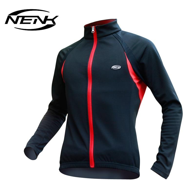 NENK Men's Bicycle Cycling Long Jersey Full Zipper Wind Coat Winter Jacket-Wind Cycling Clothing Bike Jacket Outwear
