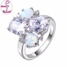 ZHE FAN Pink Blue White Fire Opal Fashion Women Rings AAA CZ Cubic Zirconia Luxury Party Engagement Wedding Ring Brand Jewelry