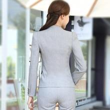 Winter slim work wear women trouser jacket OL fashion formal blazer with pant set plus size office business suit pants female