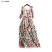 Sexy Mesh Dress Women Sheer Bohemian Summer Princess Long Transparent Embroidered Sling Dresses Autumn Two piece Vestido AC063