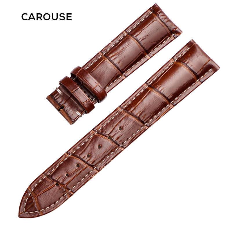 להתהולל אמיתי עור להקת שעון רצועת רצועת השעון גודל 12 13 14 15 16 18 19 20 21 22 24 mm שחור שעון צמיד צמיד