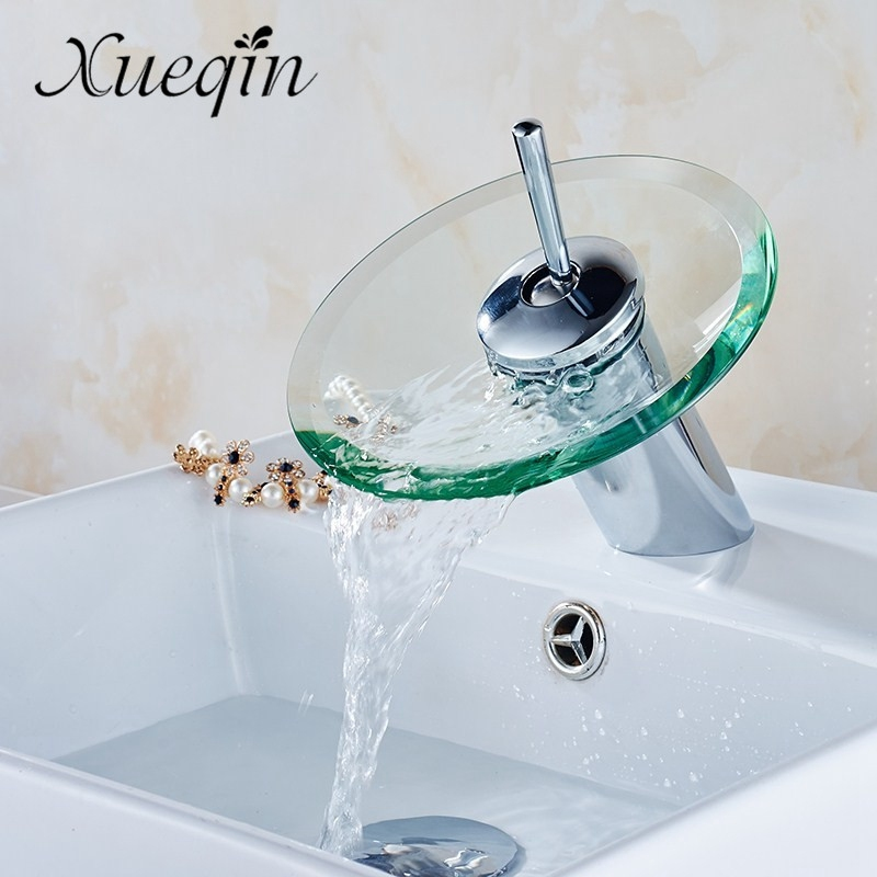 Xueqin Bathroom Waterfall Basin Sink Mixer Tap Faucet Chrome Polished Glass Edge Faucet Tap With Water Inlet Pipe