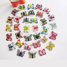 4cm 100pcs/lot Artificial Butterfly Home Decorations Simulation Stakes Yard Plant Lawn Decor Fake Butterefly