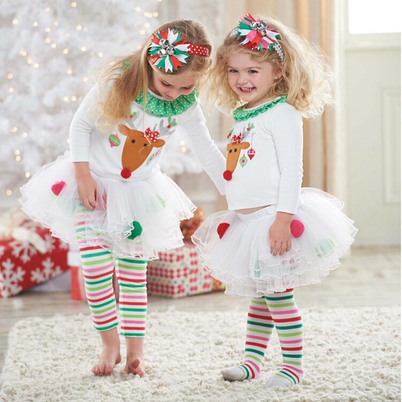 81afccfd1 عيد الميلاد الغزلان الطفل الفتيات قمم + مخطط طماق مع الدانتيل توتو تنورة  الملابس الفتيات وتتسابق حزب الأطفال الملابس مجموعات