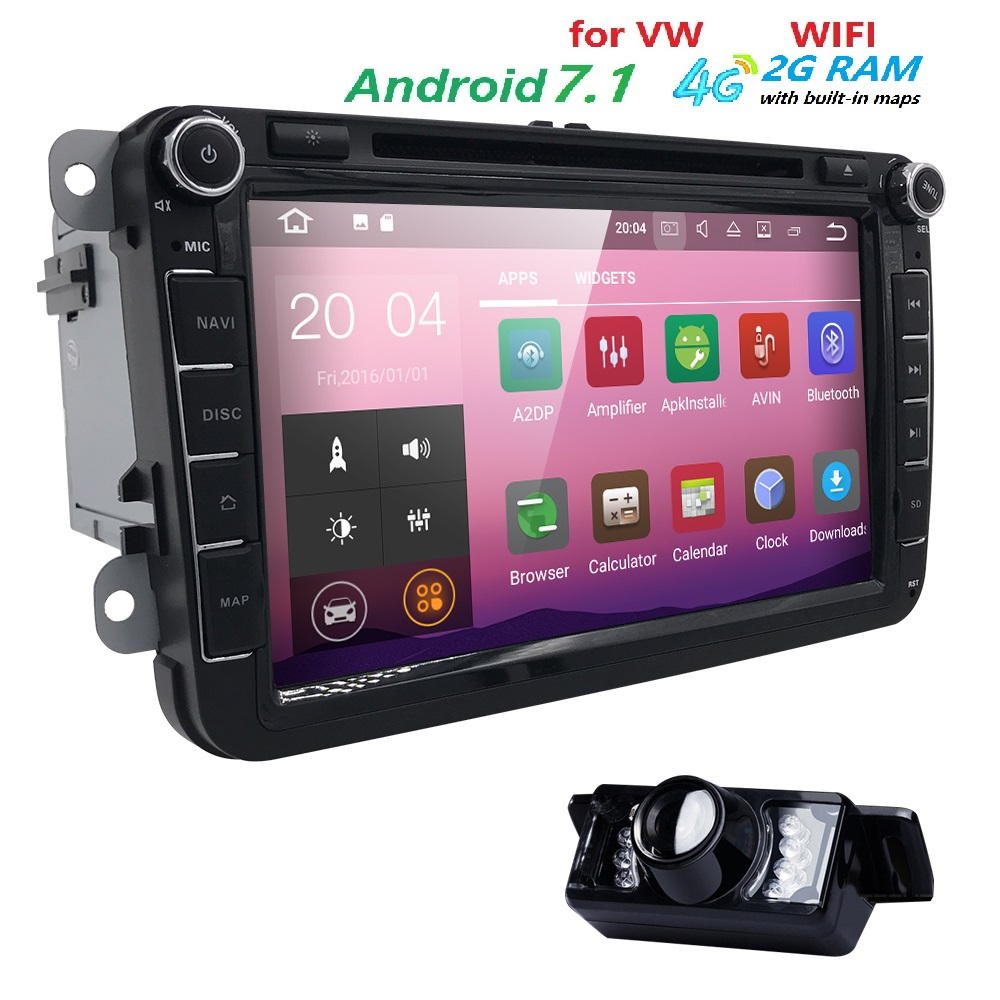 Android 7 1 2 DIN Car DVD GPS for Volkswagen VW skoda Passat B6 B7 B5