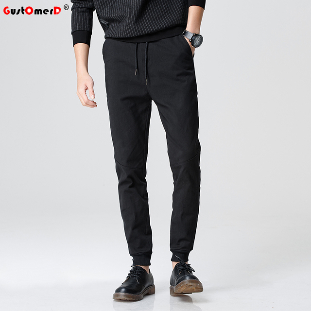 GustOmerD High Quality Solid Color Joggers Casual Cotton Men Pants Slim Fit Sporting Trousers Men Jogger Pants Men