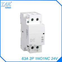 Din rail household AC contactor  63A 2P 1NO 1NC 24V Household contact module Din Rail Modular contactor ac3 rated current 80a 3poles 1nc 1no 24v coil ith 125a 3 phase ac contactor motor starter relay din rail mount