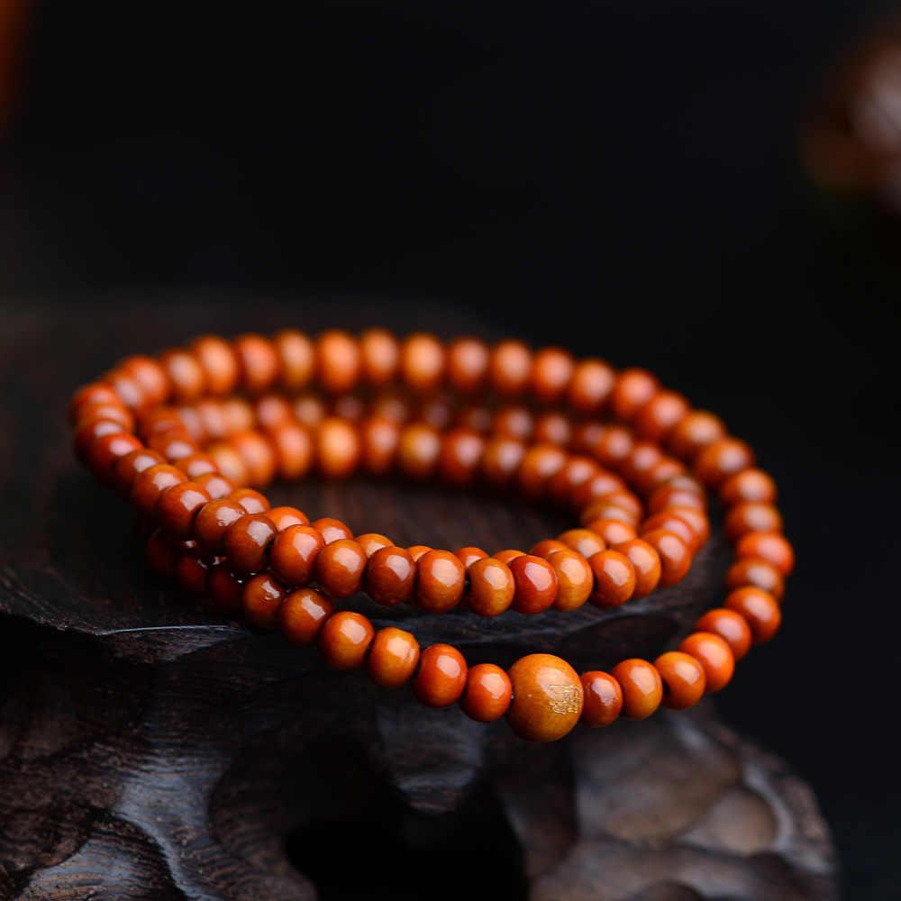 Pulseras 108 cuentas 6mm Natural sándalo budista Buda madera oración cuenta Mala Unisex hombres Pulseras y brazaletes joyería Bijoux