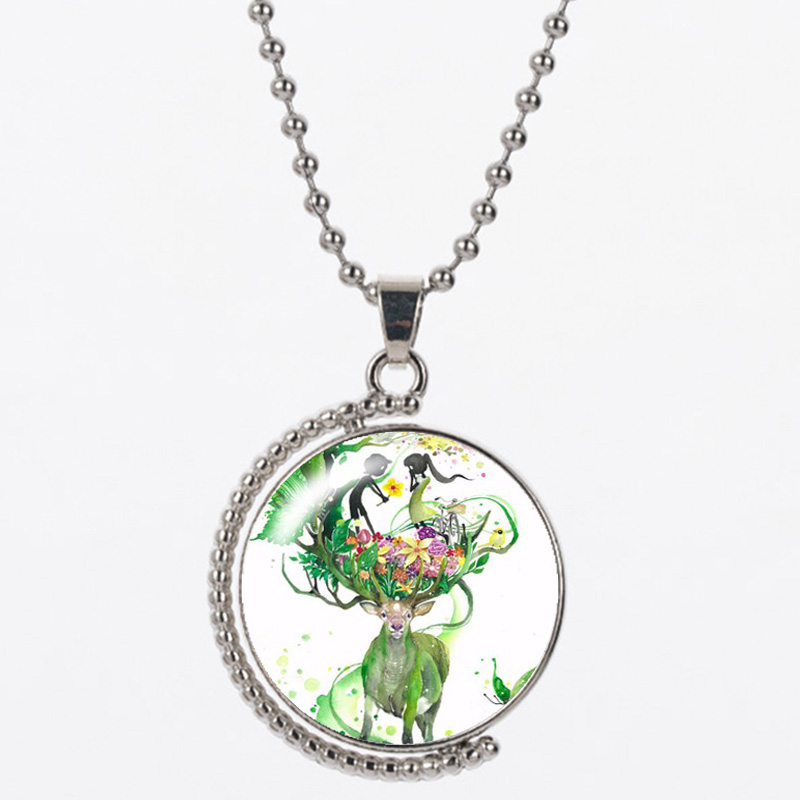 CAN23 green Elk resin 925 silver chain for women and man necklace length 45cm for birthday gift