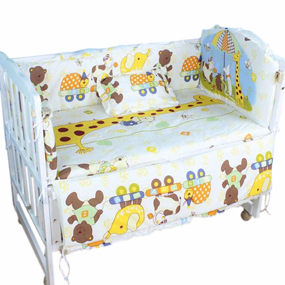 Comfy Baby Bedding Set Include Bumpers Pillow Mattress Cotton Baby Bedding Cartoon Bedding Set for Baby Newborn Bedclothes
