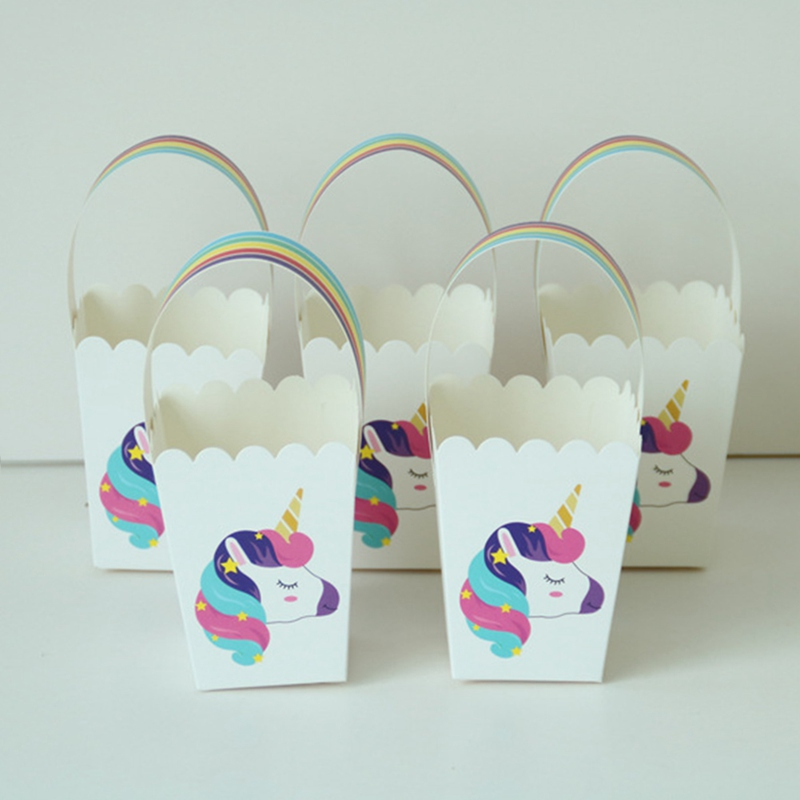 Unicorn Party Popcorn Boxes Diy Folding Candy Birthday Party Decoration Christmas Treat Bags Popcorn Box Drop Shipping Luggage & Bags