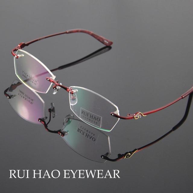 Titanium Очки Рамки Моды Очки Женщины Без Оправы Очки Женщин Оптические Очки Очки Кадров óculos из грау