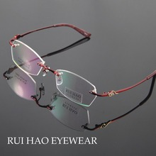 Titanium Очки Рамки Моды Очки Женщины Без Оправы Очки Женщин Оптические Очки Очки Кадров óculos из грау(China (Mainland))