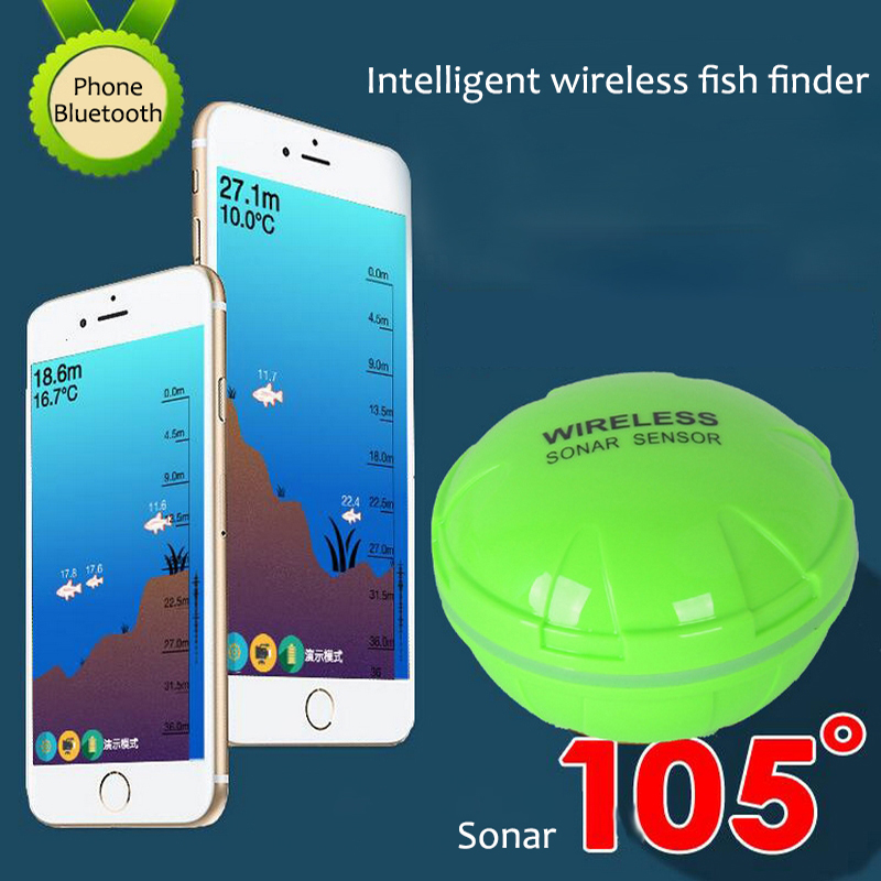 Portable Smart Wireless Fish Finder Bluetooth Fishing Sonar Sensor 30M/120ft Depth For IOS/ Android Phone Tablet Fishfinder optional extra wireless sonar sensor for fish finder items