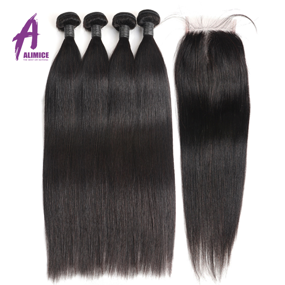 30 Inch Bundles With Closure Brazilian Straight Hair Weave Bundles With Closure 8 24 Alimice Human