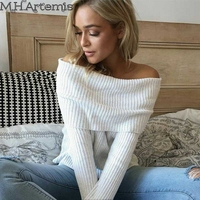 M H Artemis Autumn Winter Bodycon Women Sweater Sexy Off Shoulder Knitted Top Long Sleeve Chic