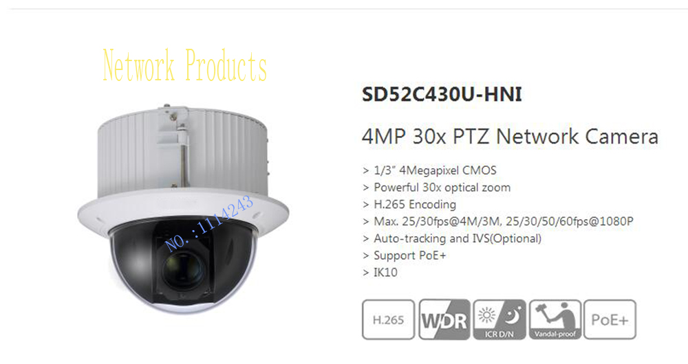 Free Shipping DAHUA Security IP Camera  4MP 30x PTZ Network Camera Support PoE+ IK10 Without Logo SD52C430U-HNI imc toys imc toys мягкая игрушка дельфин blublu интерактивная
