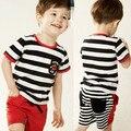 BK-405, 5 jogos/lote, bebê/Crianças conjuntos de roupas, stripe camisa de manga curta T + shorts para 2-8 anos.