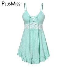 PlusMiss Plus Size 5XL Lace Up Vintage Cami Tops Ladies Summer XXXXL XXXL Lace Crochet Sleeveless Vest Women Camisole Big Size plus striped lace up cami dress