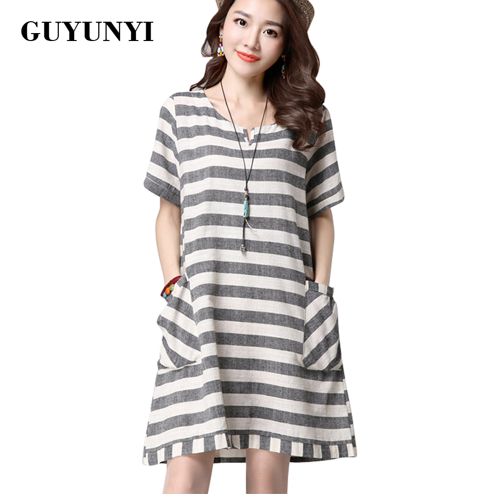 GUYUNYI Casual Female Stripe Dress 2017 Summer New National Linen Dress Plus Size Clothing Short-Sleeved Vintage Dress vestidos
