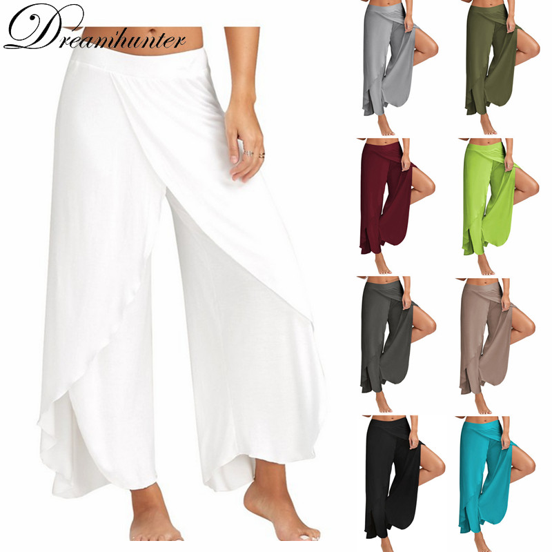 S-5XL Loose Wide Leg   Pants   Women Fitness Dance Yo ga   Pant   Casual   Capris   Elastic Plus Size Harem   Pants   Soft Bottoms Palazzo Split