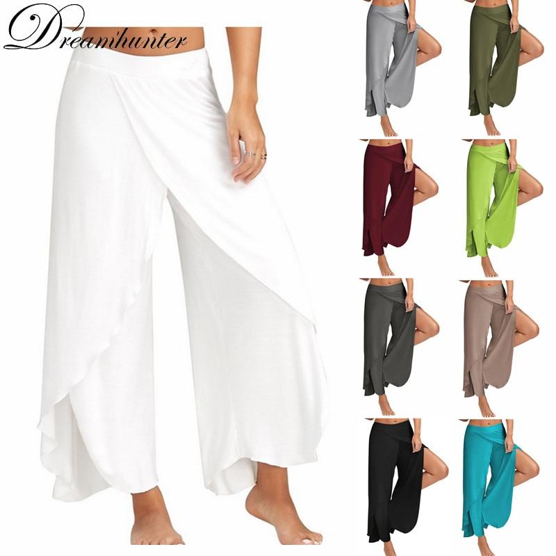 S-5XL Loose   Wide     Leg     Pants   Women Fitness Dance Yo ga   Pant   Casual Capris Elastic Plus Size Harem   Pants   Soft Bottoms Palazzo Split