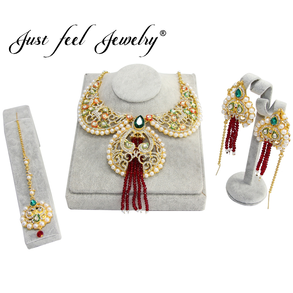 JUST FEEL New India Luxury CZ Crystal Jewelry Set Gold Color Headdress Red Tassel Earring Imitation Pearl Necklace For Woman наркотики just pearl