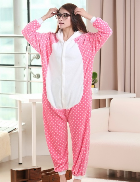 a240fc29606c Animal Pink Cat Onesies Women Adult Flannel Pajamas Jumpsuit Homewear  Halloween Sleepsuit Christmas Party Cosplay Costumes