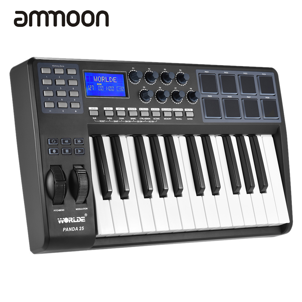 25 key ultra portable usb midi keyboard 8 drum pads controller with usb cable durable usb midi. Black Bedroom Furniture Sets. Home Design Ideas