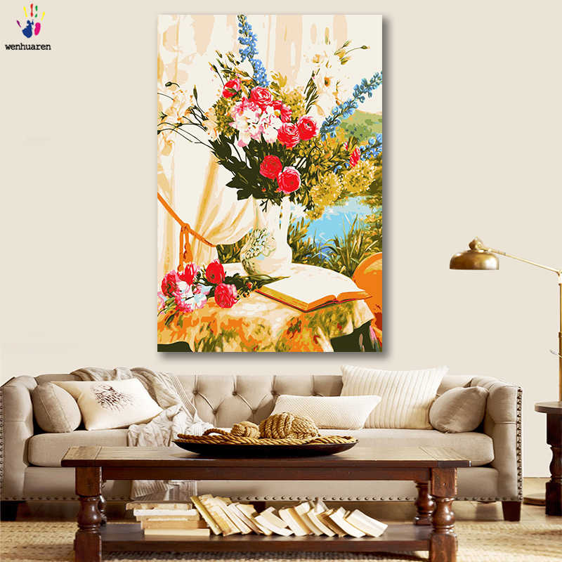 DIY colorings pictures by numbers with colors Flower afternoon time picture drawing painting by numbers framed Home