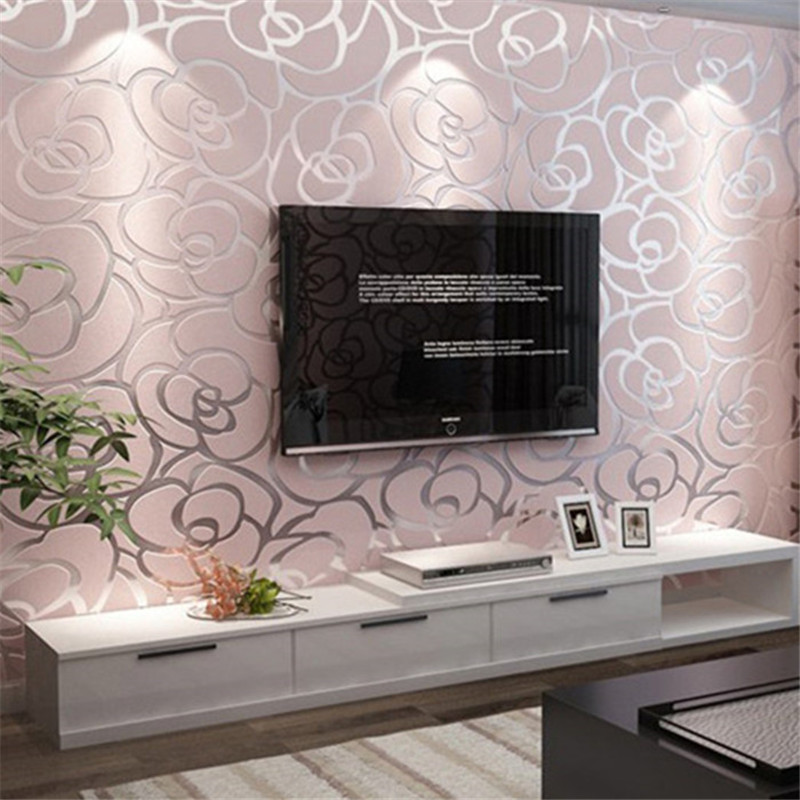 Non woven fabric wallpapers of rose gold foil floral wall for Living room ideas rose gold