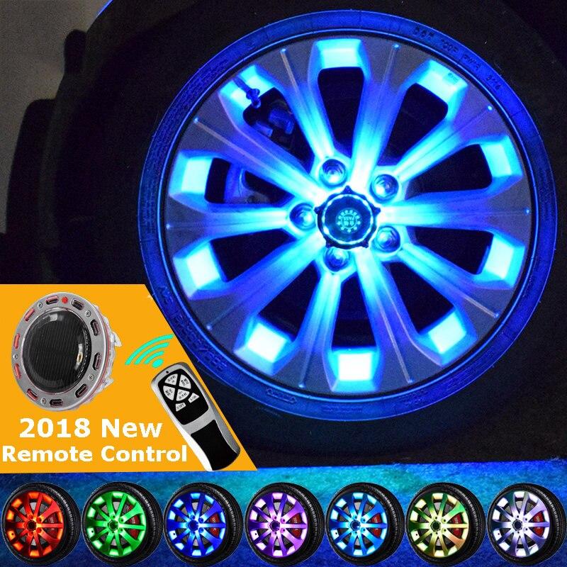 Удаленные 10/24 светодиодный флэш-Солнечный свет RGB светодиодный лампы стилизации автомобилей и установка ступицы колеса Кепки обод Прохладн...