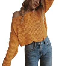 Hot Sale Spring Pullover Women Slash Neck Collar Long Sleeve Sweater Casual Loose Soft Fashion Female Leisure Sweater Tops New women cloak sweater 2019 autumn new loose bat kitted sweater embroidery fashion tops spring leisure women pullover knitwear fc90