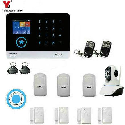 YobangSecurity WIFI GSM RFID Wireless Home Security Alarm System with Video IP Camera Wireless Flash Siren Android IOS APP yobangsecurity touch keypad wireless wifi gsm home security burglar alarm system wireless siren wifi ip camera smoke detector
