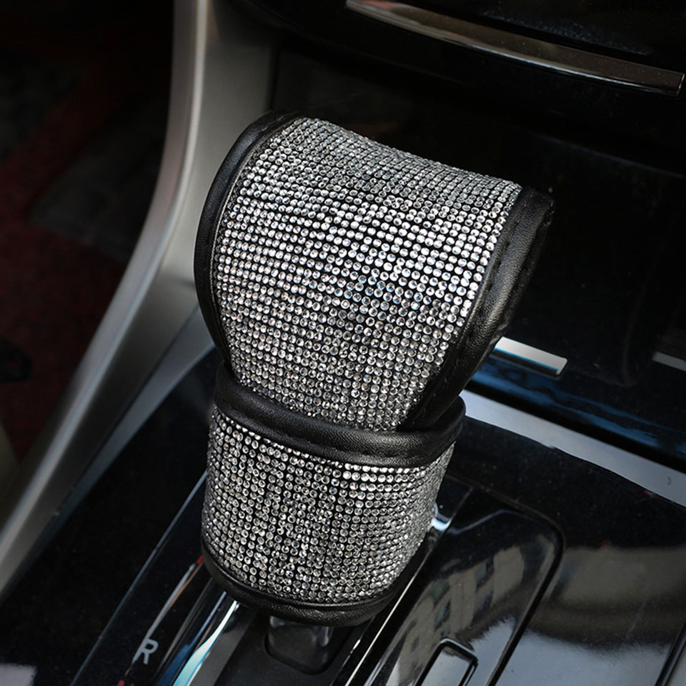 1PCS Gearshift Cover Fashion Auto Full Diamond Rhinestone Car Gear Shift Covers Gear Knob Cover Styling Decoration Accessories