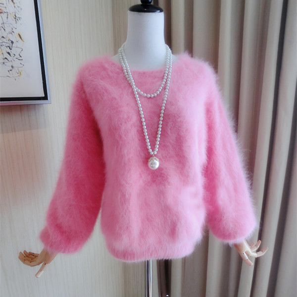 New genuine mink cashmere sweater women 100% cashmere pullover with o neck mink jacket free shipping wsr295