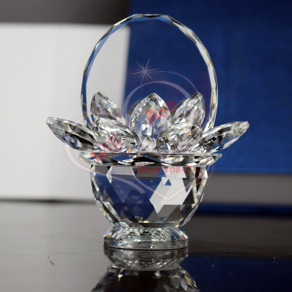 Beautiful Crystal Glass Flower Paperweight Crafts Art Collection