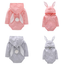 0-18M Newborn Baby Girl Romper Infant Boy Rabbit Jumpsuit Summer Autumn Toddler Clothes Cotton Long Sleeve Hooded Rompers Outfit(China)