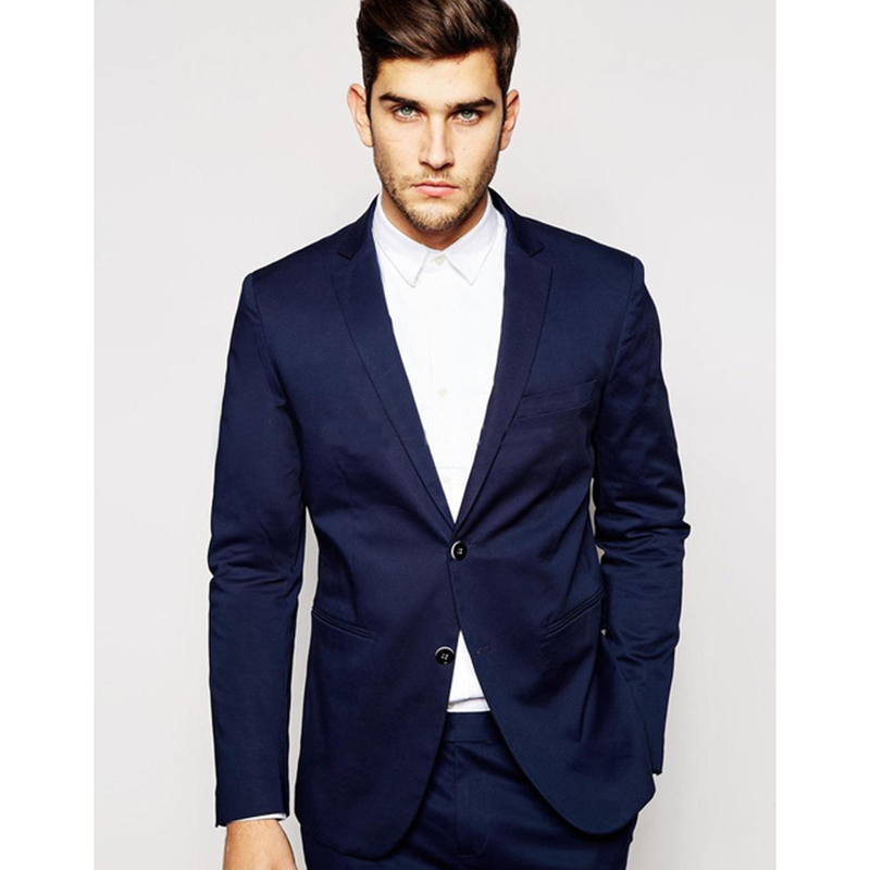 Fashion  Gentle-Mens Suit Two Pieces Navy Blue Dress Jacket Pants Gap Lapel Ternos Masculino Casual Wedding Suit Custom Made!!!