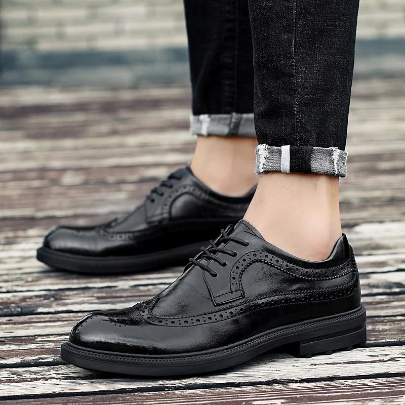 Clásico Los Genuino brown Zapatos Boda Cuero 2019 Para Formales Black Marrón Negro Hombres Zapato Y Moda Oficina Elegante Brogue Hombre De Vestir 1qqE08w