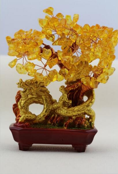natural crystal craft tree , the lucky feng shui tree as the mascot, bring in wealth and treasure fortune treegren 1728 yellow